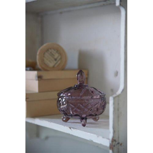 Jeanne d'Arc Living / Sklenená dóza s viečkom Plum Glass
