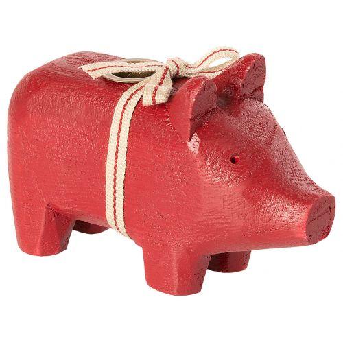 Maileg / Svietnik Wooden Pig Small Red