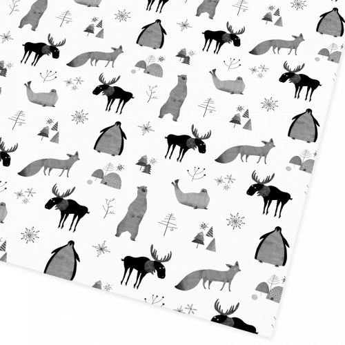 Ohh Deer / Balící papír Christmas Animals 50x70 cm