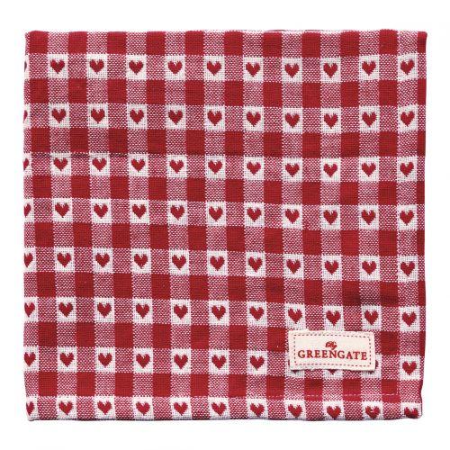 GREEN GATE / Látkový obrúsok Heart Petit Red