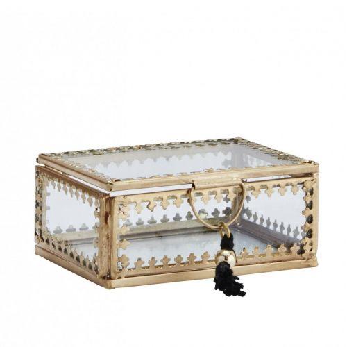 MADAM STOLTZ / Sklenená krabička Orient Gold/clear - menšia