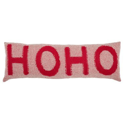 Bloomingville / Vianočný bavlnený vankúš Ho Ho Hoo 90 x 30 cm