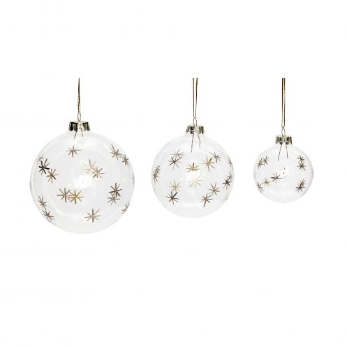 Hübsch / Vianočná ozdoba Clear/gold stars