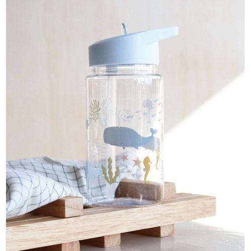 A Little Lovely Company / Detská fľaša so slamkou Ocean 450 ml + samolepky