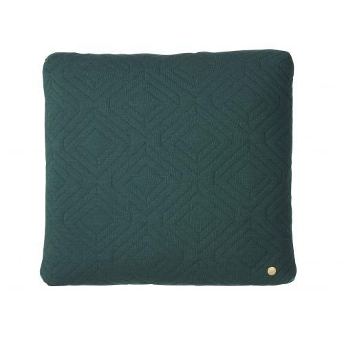 ferm LIVING / Prešívaný vankúš Dark green 45x45 cm