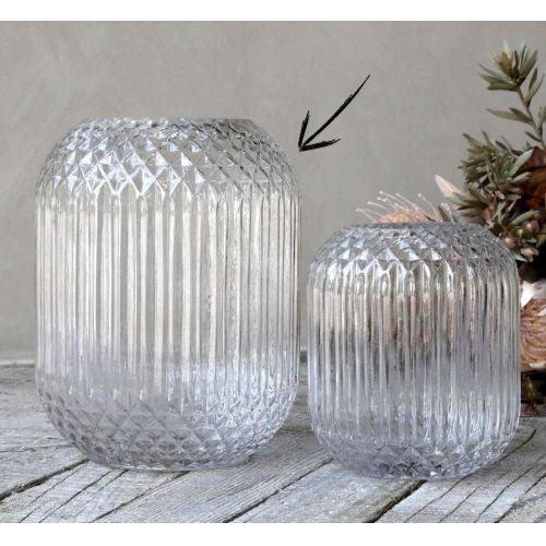 Chic Antique / Sklenená váza Checkered Clear 25 cm