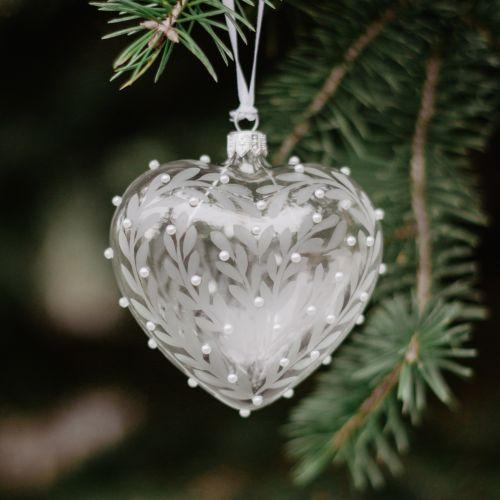 GLASSOR / Vianočná ozdoba Crystal Clear Floral Heart 10 cm