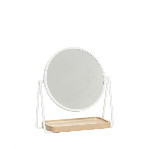 Hübsch / Stolné zrkadlo s drevenou táckou White