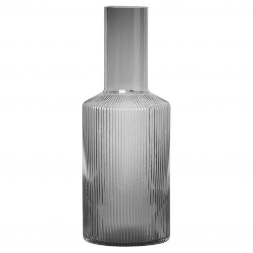 ferm LIVING / Sklenená karafa Ripple Smoked grey 900 ml