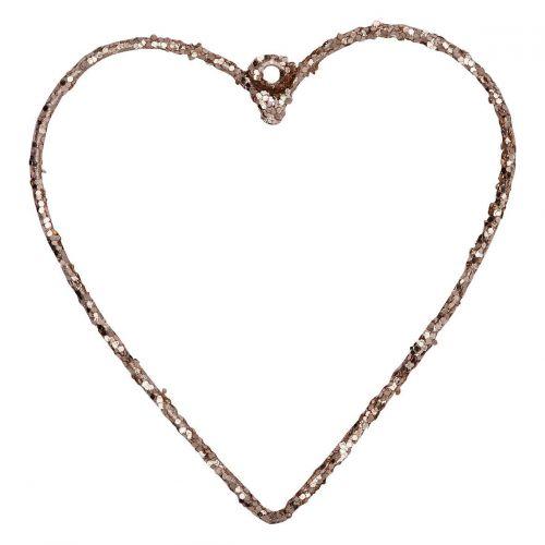 GREEN GATE / Závesné kovové srdce Champagne - menšie