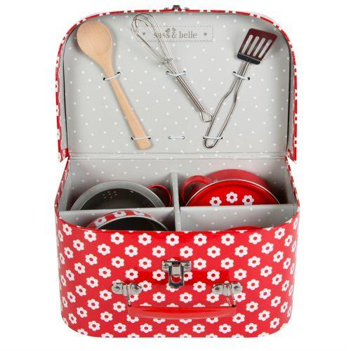 sass & belle / Detská mini kuchynka v kufríku Red daisies