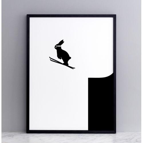 HAM / Sieťotlač s králíkom v skoku na na lyžiach Ski Jumping Rabbit 30 x 40 cm