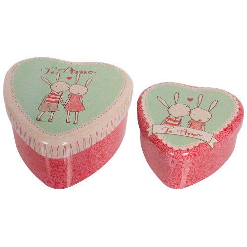 Maileg / Plechová krabička v tvare srdce Rabbit - set