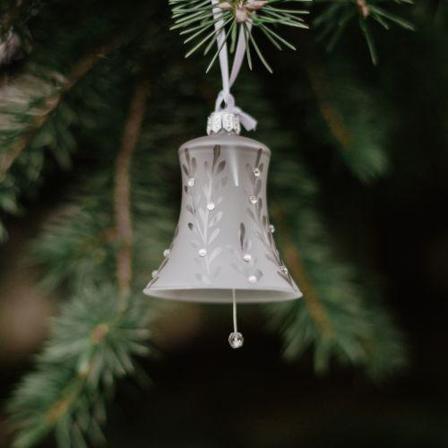 GLASSOR / Sklenená vianočná ozdoba Leaves Matt grey - zvonček