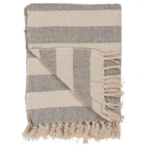 IB LAURSEN / Bavlnený prehoz Cream/Black stripes 130x160 cm