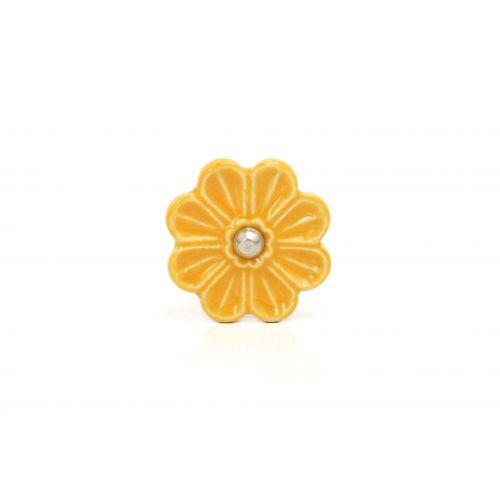 La finesse / Porcelánová úchytka Flower yellow