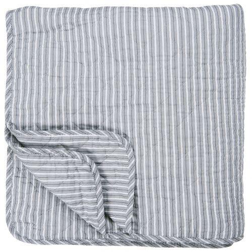 IB LAURSEN / Prešívaný bavlnený prehoz Dark Grey Stripes 130x200