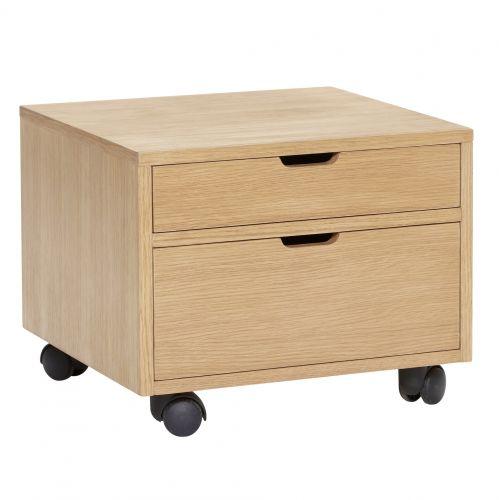 Hübsch / Dubový úložný box s kolieskami a zásuvkami Oak
