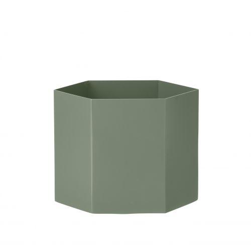 ferm LIVING / Kovový kvetináč Hexagon Dusty Green XL