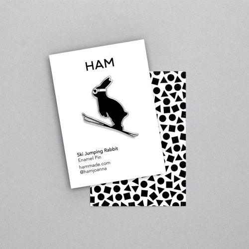 HAM / Kovový odznak s králíkom Ski Jumping