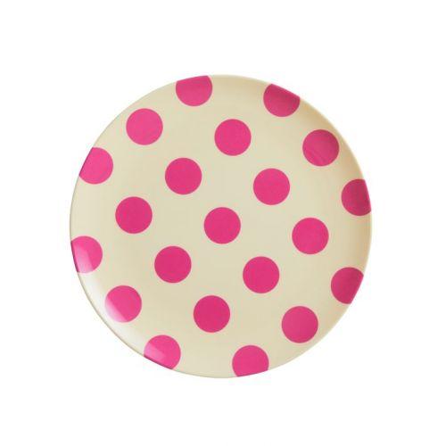 rice / Melamínový tanierik Fuchsia Dots