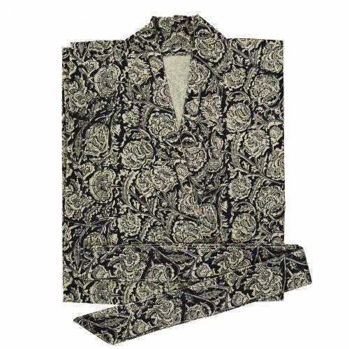 MADAM STOLTZ / Bavlnené kimono s opaskom Black Flower
