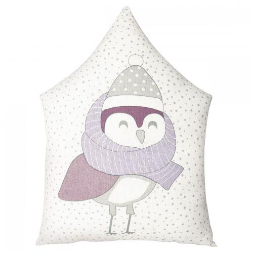 GREEN GATE / Detský vankúšik Owl Lavender 31×45 cm