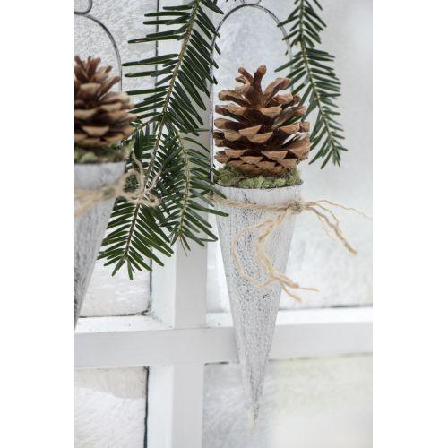 IB LAURSEN / Závesný kornút na dekorácie - biely 15cm