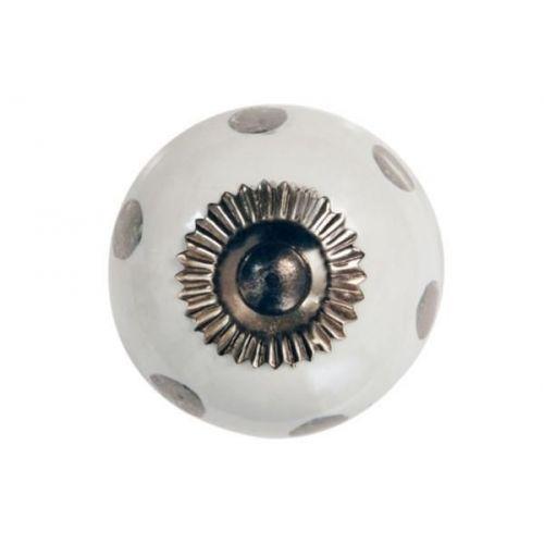 La finesse / Porcelánová úchytka Silver dots