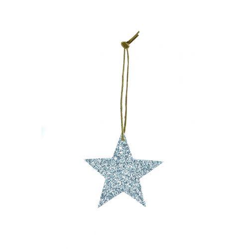 House Doctor / Třpytivá závěsná hvězdička Silver Glitter 5 cm