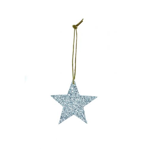 House Doctor / Trblietavá závesná hviezdička Silver Glitter 5 cm