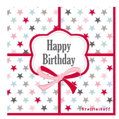 Krasilnikoff / Papírové ubrousky Happy birthday