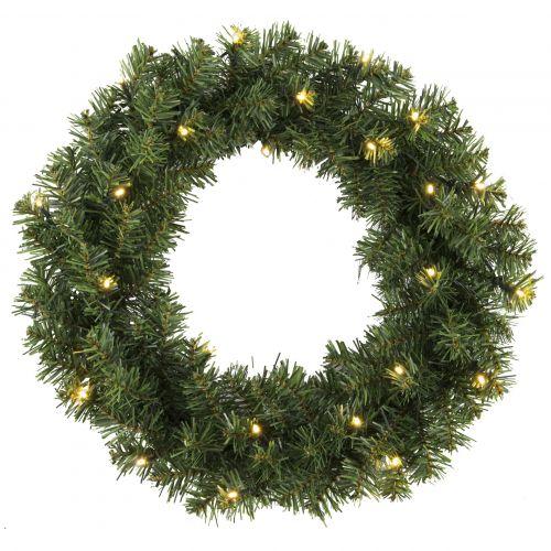 STAR TRADING / Svietiaci vianočný veniec - Alaska - 50 cm