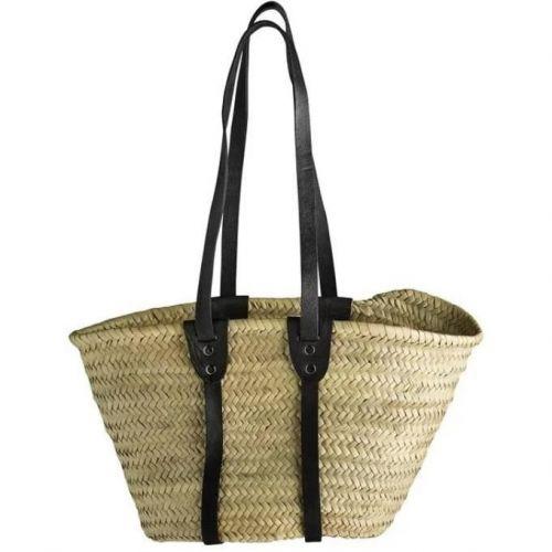 Tine K Home / Slamená taška Black - dlhé uchá