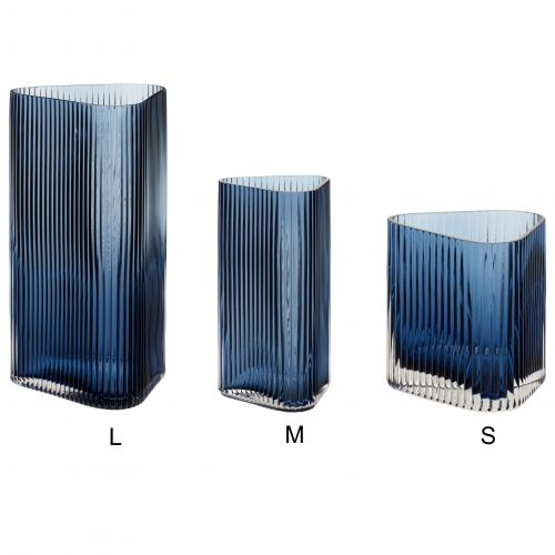 Hübsch / Sklenená váza Triangular Blue Grooves