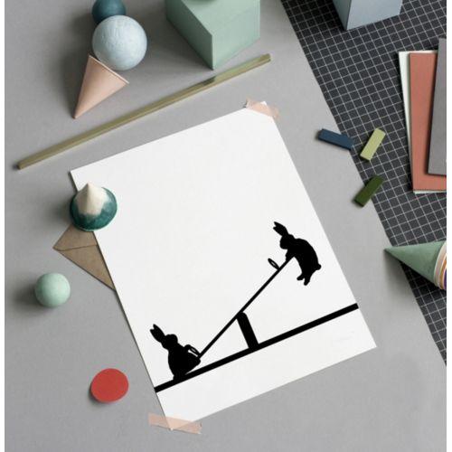 HAM / Sieťotlač s králikmi na hojdačke Seesawing Rabbit 30 x 40 cm