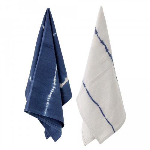 Bloomingville / Bavlnená utierka Blue Tie Dye 70×45 cm - set 2 ks