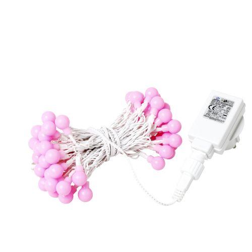 rice / Vonkajšia svetelná reťaz s 50-timi žiarovkami Pink