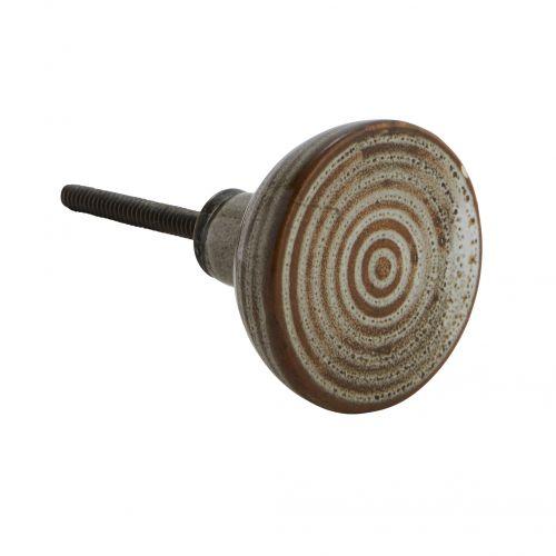 MADAM STOLTZ / Porcelánová úchytka Brown Circles