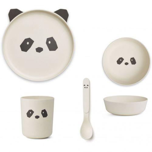 LIEWOOD / Sada detského riadu Panda Cream White