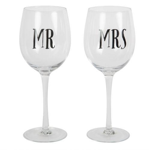 sass & belle / Poháre na víno Mr & Mrs