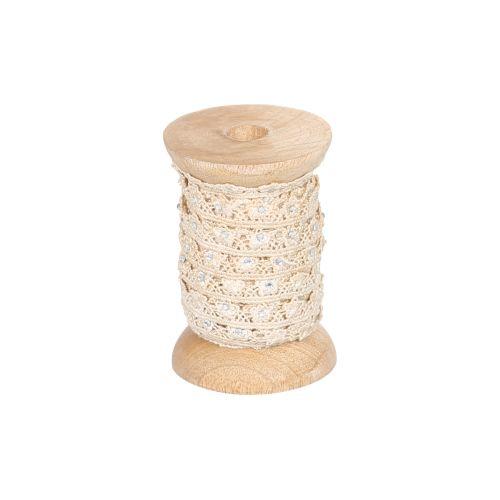 Chic Antique / Krajková stuha s kamienkami Cream