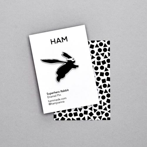 HAM / Kovový odznak s králikom Superhero Rabbit