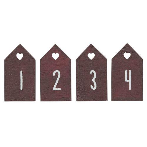 IB LAURSEN / Drevené štítky na adventný veniec Red - set 4 ks