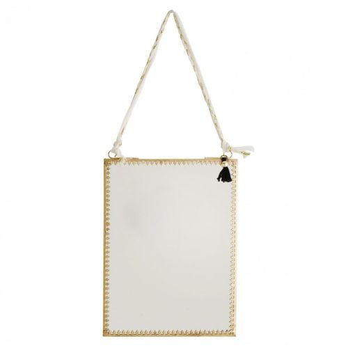 MADAM STOLTZ / Závesné zrkadlo v kovovom ráme Orient Gold
