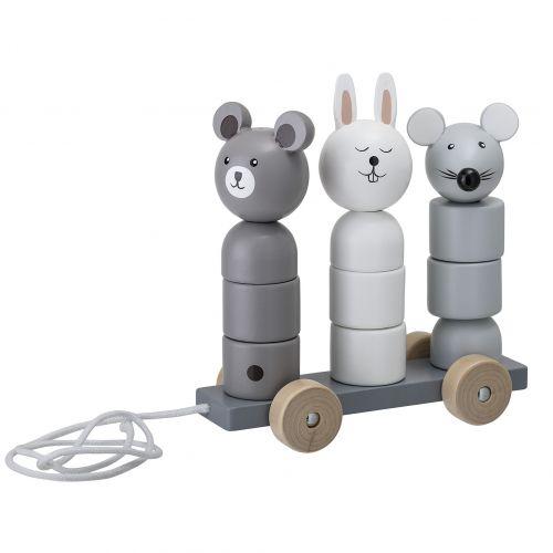 Bloomingville / Drevená ťahacia hračka Lotus Grey
