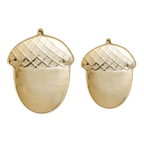 Bloomingville / Porcelánové tácky Golden Acorn set 2 ks