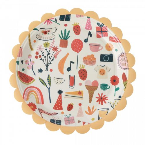 rice / Papierové taniere Celebrate - set 8 ks