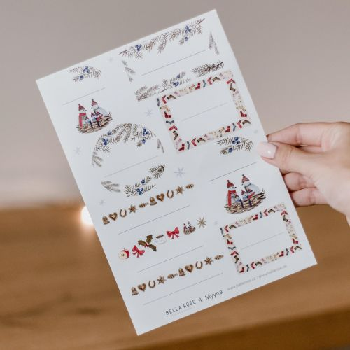 Bella Rose / Vianočné lepiace štítky na darčeky
