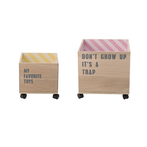Bloomingville / Úložný box na kolieskach Natural/Striped Inside